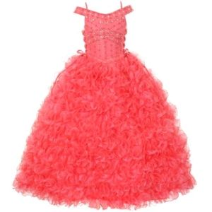 Girl's coral ruffle pageant flower girl dress 8